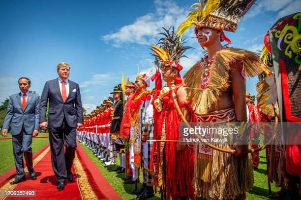 King WillemAlexander of The Netherlands is welcomed by President Jcand his wife Iriana Widodo with an official welcome ceremony at the Presidential...