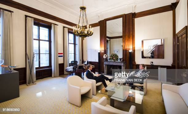 King WillemAlexander of The Netherlands meets with Dutch Minister of Safety Sander Dekker at the Royal Palace Noordeinde in The Hague Netherlands on...