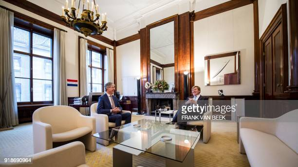 King WillemAlexander of The Netherlands meets with Dutch Minister of Education Culture and Science Arie Slob at the Royal Palace Noordeinde in The...