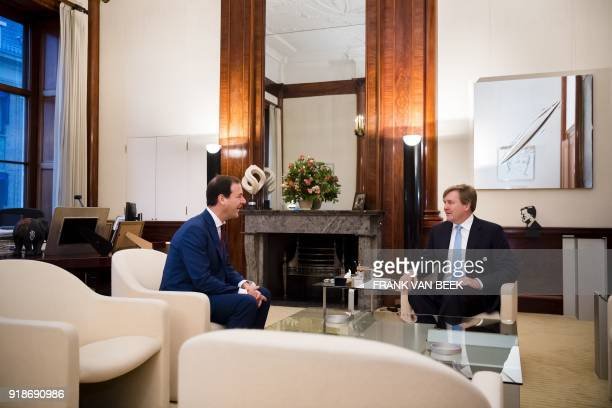 King WillemAlexander of The Netherlands meets with PvdA party leader Lodewijk Asscher at the Royal Palace Noordeinde in The Hague Netherlands on...