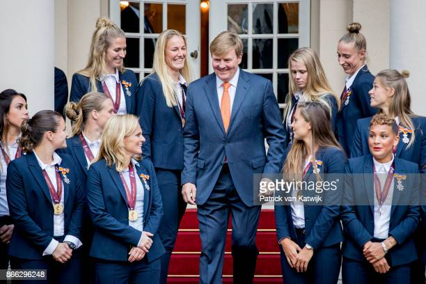 King WillemAlexander of The Netherlands next to Lieke Martens and Shanice van de Sanden as he and welcomes the women's football team after they won...