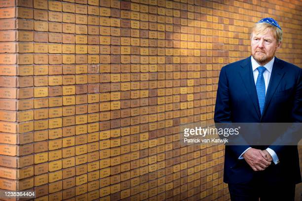 King Willem-Alexander of The Netherlands opens the National Holocast Names monument on September 19, 2021 in Amsterdam, Netherlands.
