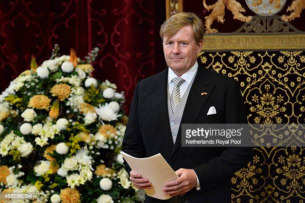 King WillemAlexander of The Netherlands opens the parliamentary year on September 15 2015 in The Hague The Netherlands