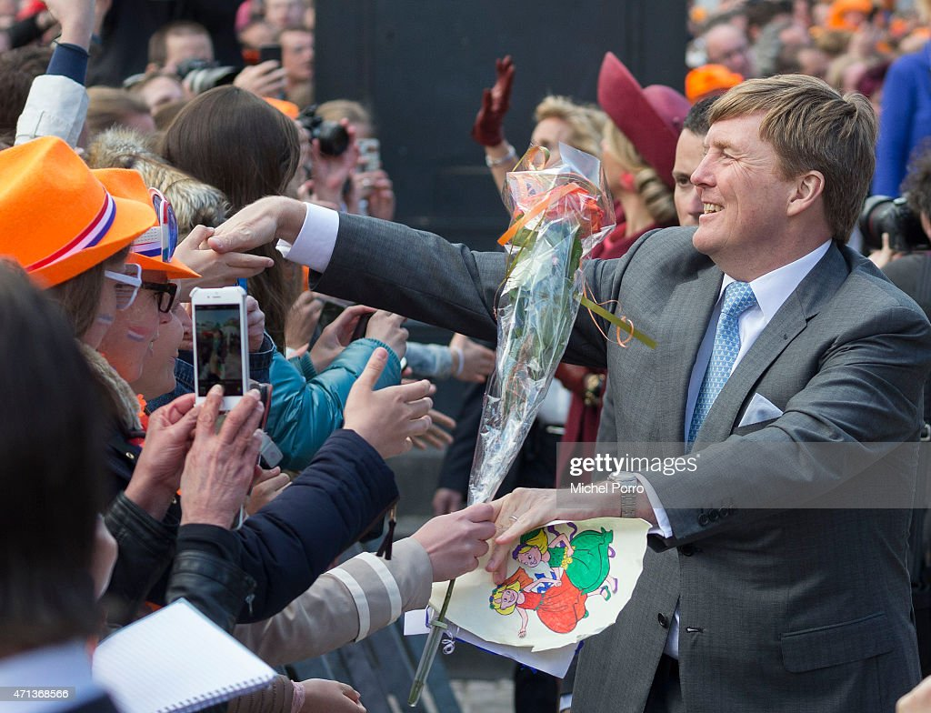King Willem-Alexander of The Netherlands participates in King's Day celebrations on April 27, 2015 in Dordrecht, Netherlands.