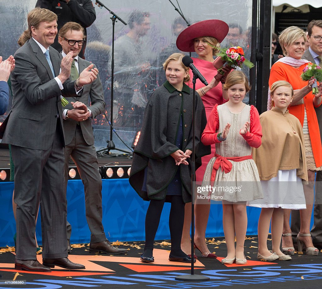King Willem-Alexander of The Netherlands, Prince Bernhard Jr., Crown Princess Catharina-Amalia; Queen Maxima; Princess Alexia, Princess Ariane and Princess Laurentien participate in King's Day celebrations on April 27, 2015 in Dordrecht, Netherlands.
