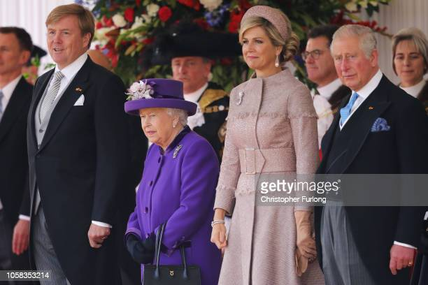 King Willem-Alexander of the Netherlands, Queen Elizabeth II, Queen Maxima of the Netherlands and Prince Charles, Prince of Wales are seen during a...