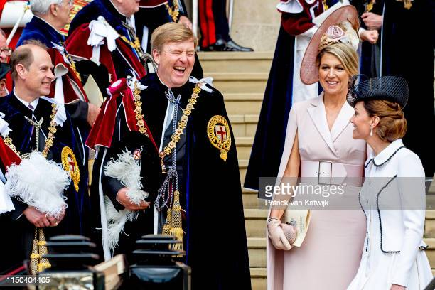 King WillemAlexander of The Netherlands Queen Maxima of The Netherlands and Catherine Duchess of Cambridge at St George's Chapel on June 17 2019 in...