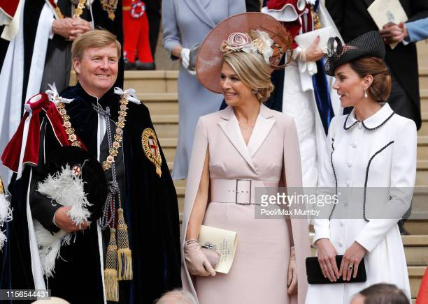 King WillemAlexander of the Netherlands Queen Maxima of the Netherlands and Catherine Duchess of Cambridge attend the Order of the Garter service at...