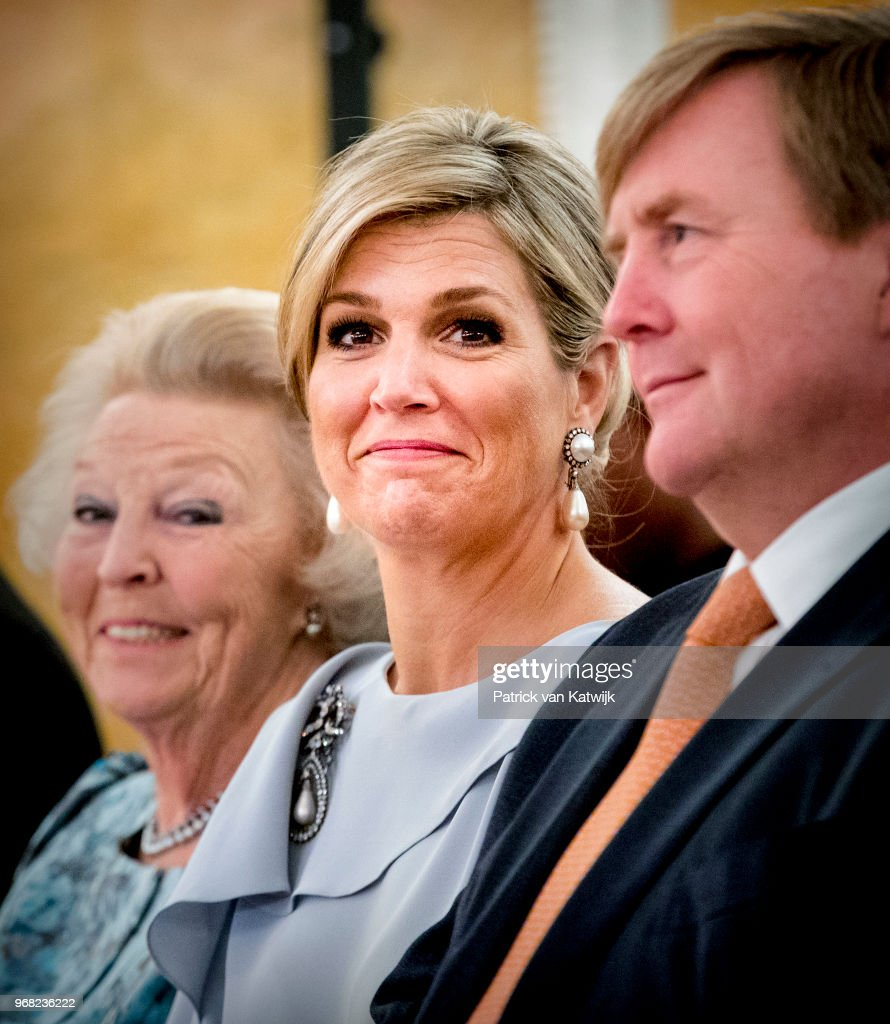 King Willem-Alexander of The Netherlands, Queen Maxima of The Netherlands and Princess Beatrix of The Netherlands during the award ceremony of the Appeltjes van Oranje for social projects on June 6, 2018 in The Hague, Netherlands. Queen Maxima is patroness of the Oranje Foundation that organizes the Appeltjes van Oranje award.