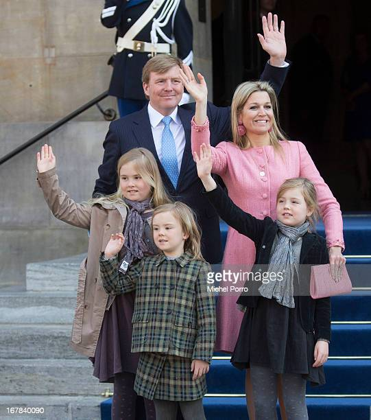 King Willem-Alexander of the Netherlands, Queen Maxima of the Netherlands and their daughters Crown Princess Catharina Amalia of the Netherlands,...
