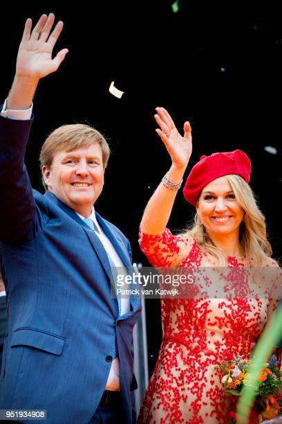 King WillemAlexander of The Netherlands Queen Maxima of The Netherlands attend the Kingsday celebration on April 27 2018 in Groningen Netherlands