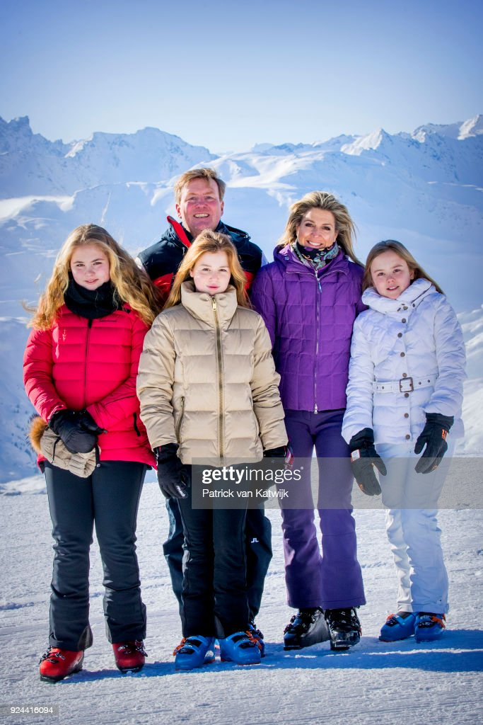 King Willem-Alexander of The Netherlands, Queen Maxima of The Netherlands, Crown Princess Catharina-Amalia of The Netherlands, Princess Alexia of The Netherlands and Princess Ariane of The Netherlands during the annual winter photo call on February 26, 2018 in Lech, Austria.