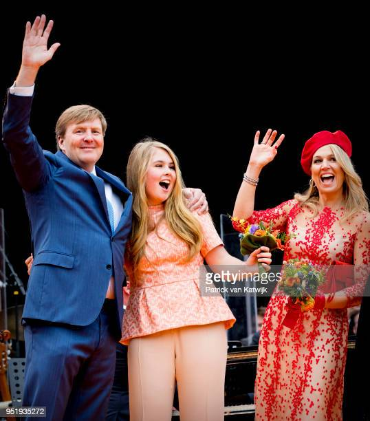 King WillemAlexander of The Netherlands Queen Maxima of The Netherlands Princess Amalia of The Netherlands attend the Kingsday celebration on April...