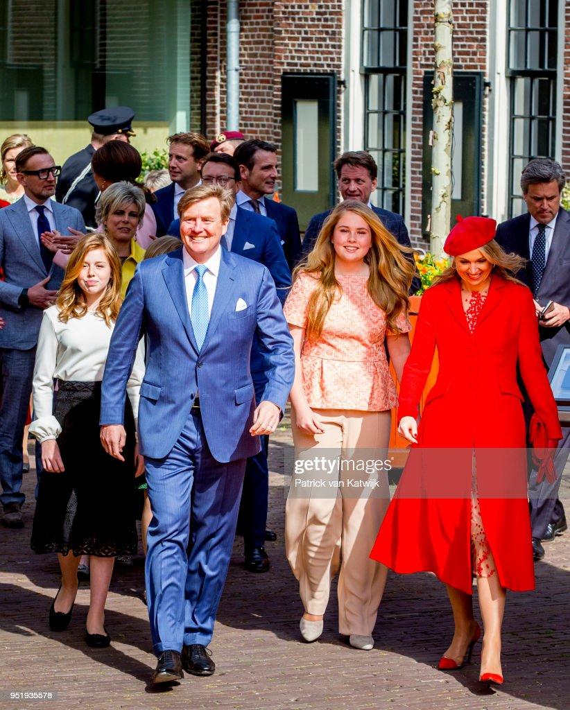 King Willem-Alexander of The Netherlands, Queen Maxima of The Netherlands, Princess Amalia of The Netherlands, Princess Alexia of The Netherlands and Princess Ariane of The Netherlands during the Kingsday celebration on April 27, 2018 in Groningen, Netherlands.