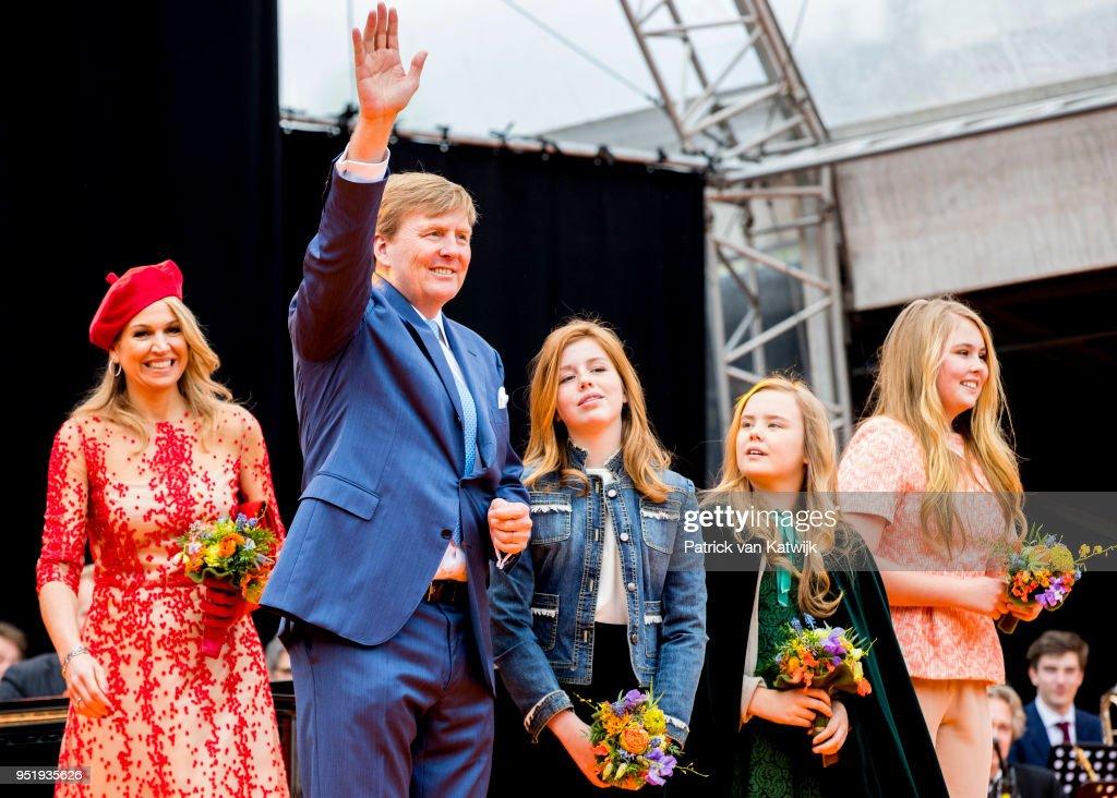 King Willem-Alexander of The Netherlands, Queen Maxima of The Netherlands, Princess Amalia of The Netherlands, Princess Alexia of The Netherlands and Princess Ariane of The Netherlands attend the Kingsday celebration on April 27, 2018 in Groningen, Netherlands.