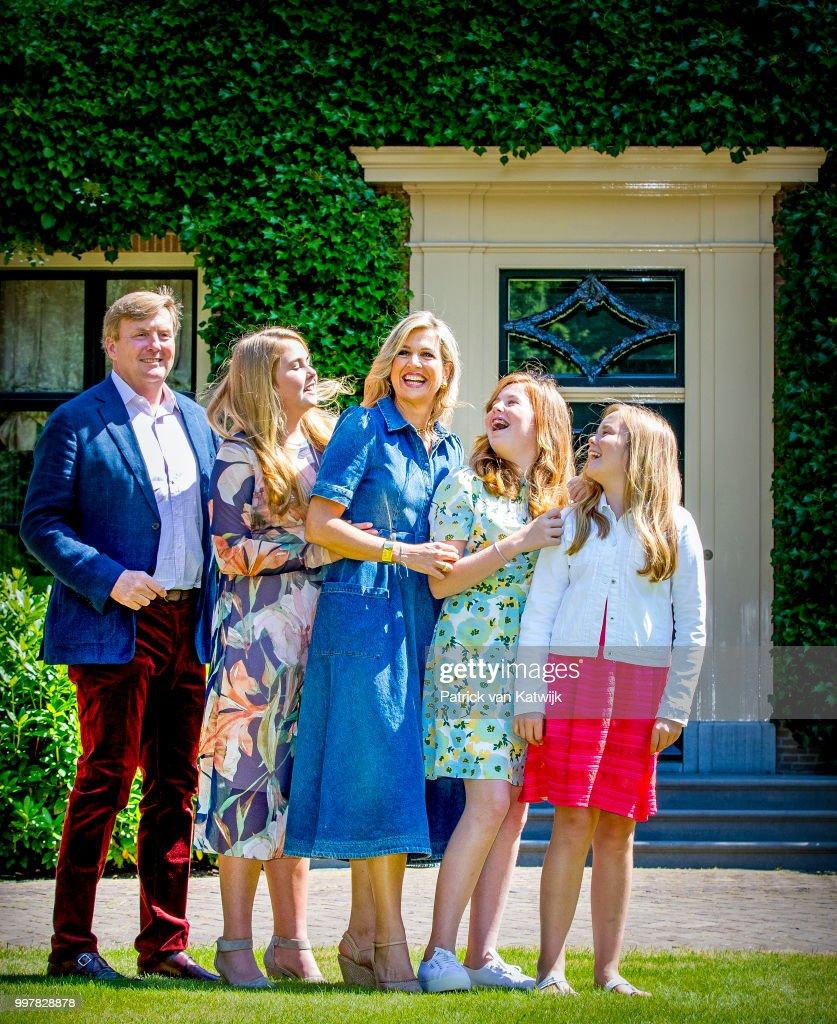 King Willem-Alexander of The Netherlands, Queen Maxima of The Netherlands, Princess Amalia of The Netherlands, Princess Alexia of The Netherlands and Princess Ariane of The Netherlands on July 13, 2018 in Wassenaar, Netherlands.