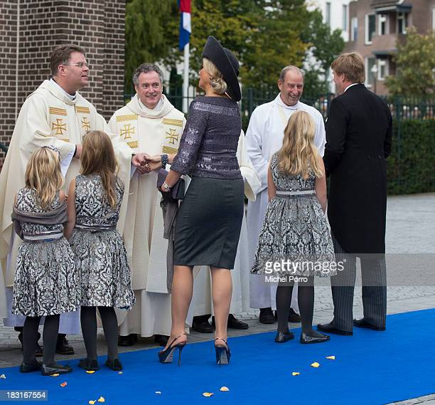 King WillemAlexander of The Netherlands Queen maxima Princess Alexia Princess Ariane and Princess Amalia attend the wedding of Prince Jaime de...