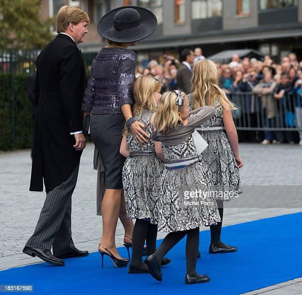 King Willem-Alexander of The Netherlands, Queen maxima, Princess Alexia, Princess Ariane and Princess Amalia attend the wedding of Prince Jaime de...