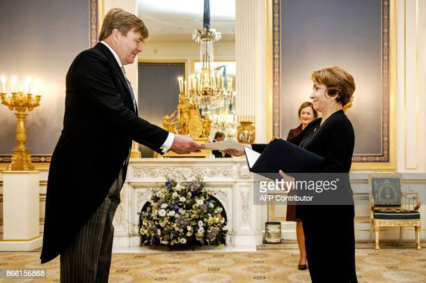 King WillemAlexander of the Netherlands receives credentials from the Ambassador of The Republic of Guatemala Gladys Martha Ruiz during a ceremony in...