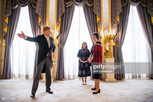 King Willem-Alexander of the Netherlands receives the letter of credence from the ambassador of New Zealand Lyndal Walker, at Palace Noordeinde in...