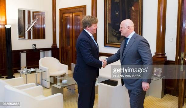 King WillemAlexander of The Netherlands shakes hands with Dutch Minister of Justice and Security Ferdinand Grapperhaus prior to their meeting at the...