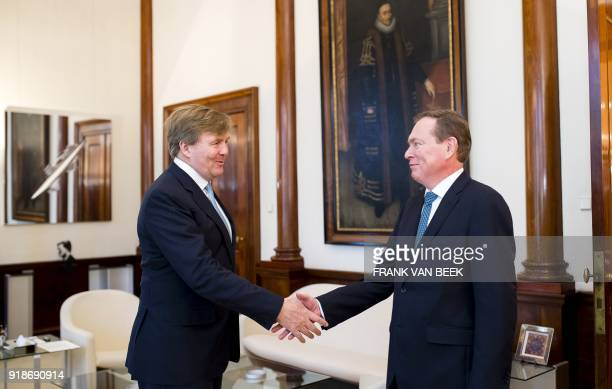 King WillemAlexander of The Netherlands shakes hands with Dutch Minister of Medical Health Bruno Bruins at the Royal Palace Noordeinde in The Hague...