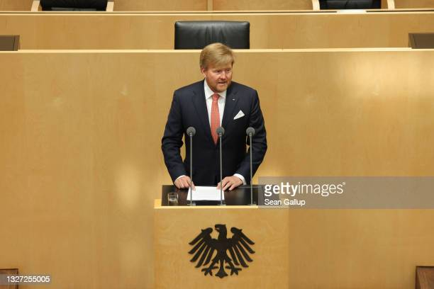 King Willem-Alexander of the Netherlands speaks at a session of the Bundesrat in his honour on July 06, 2021 in Berlin, Germany. Their Royal...