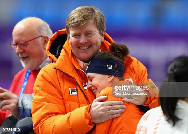 King WillemAlexander of the Netherlands speaks to gold medal winner Ireen Wust of The Netherlands after the Ladies 1500m Long Track Speed Skating...