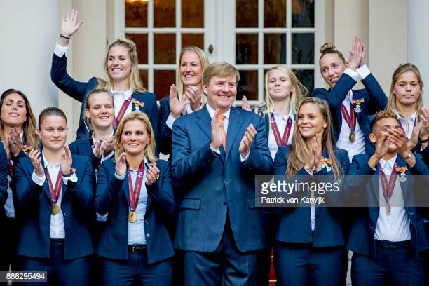 King WillemAlexander of The Netherlands stands next to Lieke Martens and Shanice van de Sanden as he and welcomes the women's football team after...