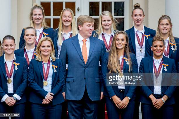 King WillemAlexander of The Netherlands stands next to Lieke Martens and Shanice van de Sanden and coach Sarina Wiegman as he welcomes the women's...