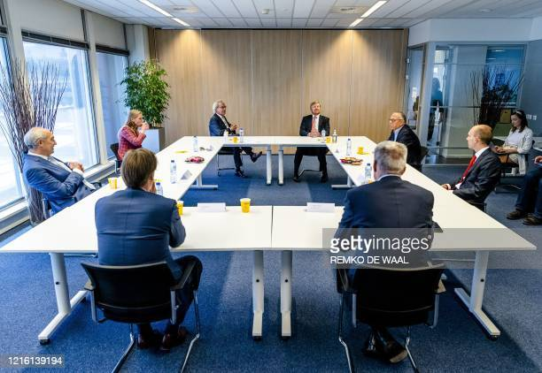 King WillemAlexander of the Netherlands takes part in a working visit to the Dutch railway company NS in Utrecht the Netherlands on May 29 2020 amid...