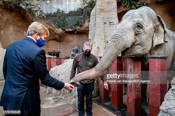 King Willem-Alexander of The Netherlands visits Blijdorp Zoo to get informed about the impact of the coronavirus pandemic on the zoo on November 23,...