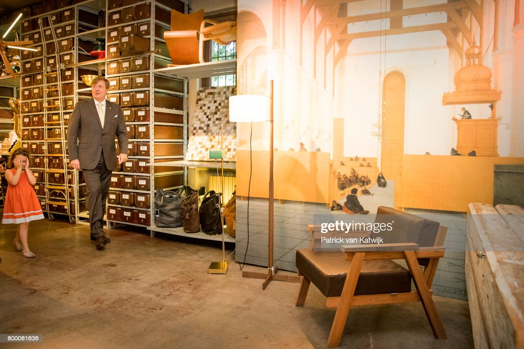 King Willem-Alexander of The Netherlands visits Galleria Rossanna Orlandi during the fourth day of a royal state visit to Italy on June 23, 2017 in Milan, Italy.