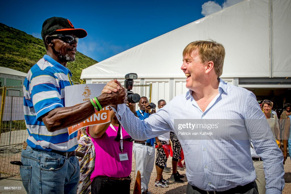 King Willem-Alexander of The Netherlands visits reconstruction projects and damaged areas in Sint Maarten after the destruction of hurricane Irma on December 02, 2017 in Philipsburg, Sint Maarten.