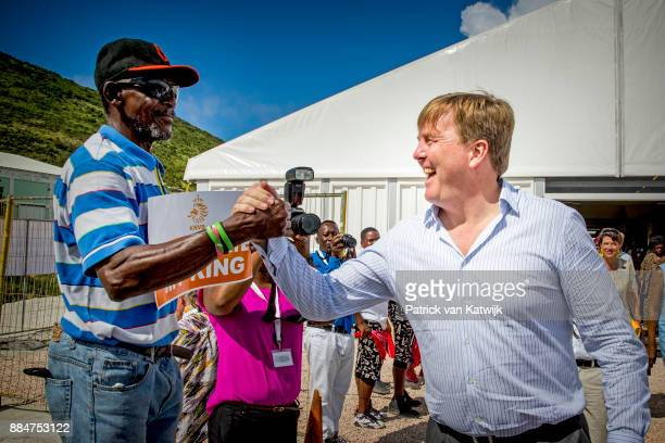King WillemAlexander of The Netherlands visits reconstruction projects and damaged areas in Sint Maarten after the destruction of hurricane Irma on...