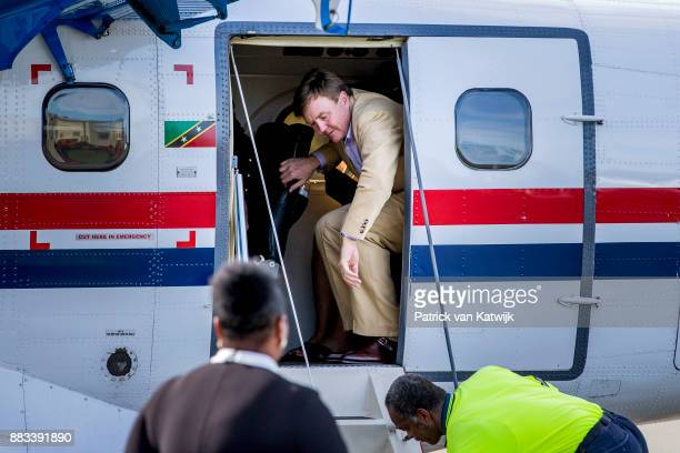 King Willem-Alexander of The Netherlands visits Solar Park and the reconstruction of houses on November 30, 2017 in Oranjestad, Sint Eustatius. The...