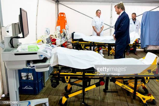 King WillemAlexander of The Netherlands visits the Isala Hospital to be updated by health professionals on the current coronavirus / Covid19 crisis...