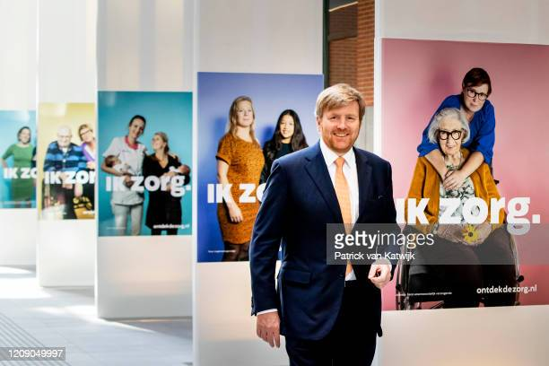 King WillemAlexander of The Netherlands visits the Ministry of Health care to get informed about their role in the fight against coronavirus on April...