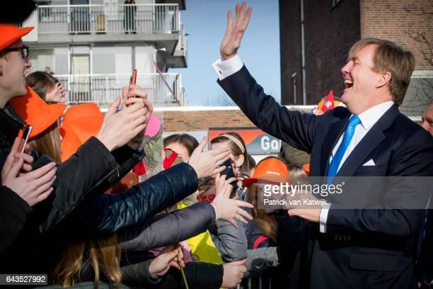 King WillemAlexander of The Netherlands visits the town hall in Krimpen aan den IJssel on February 21 2017 in Gouderak Netherlands