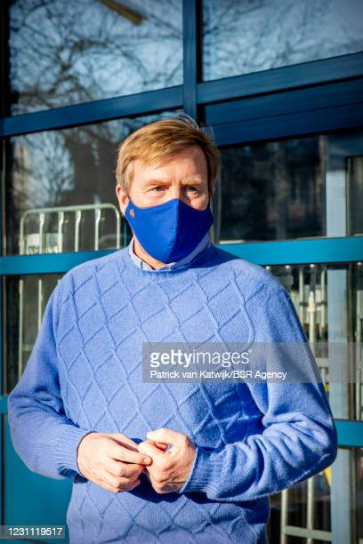 King Willem-Alexander of The Netherlands visits the winter shelter of the Salvation Army on February 12, 2021 in The Hague, Netherlands.