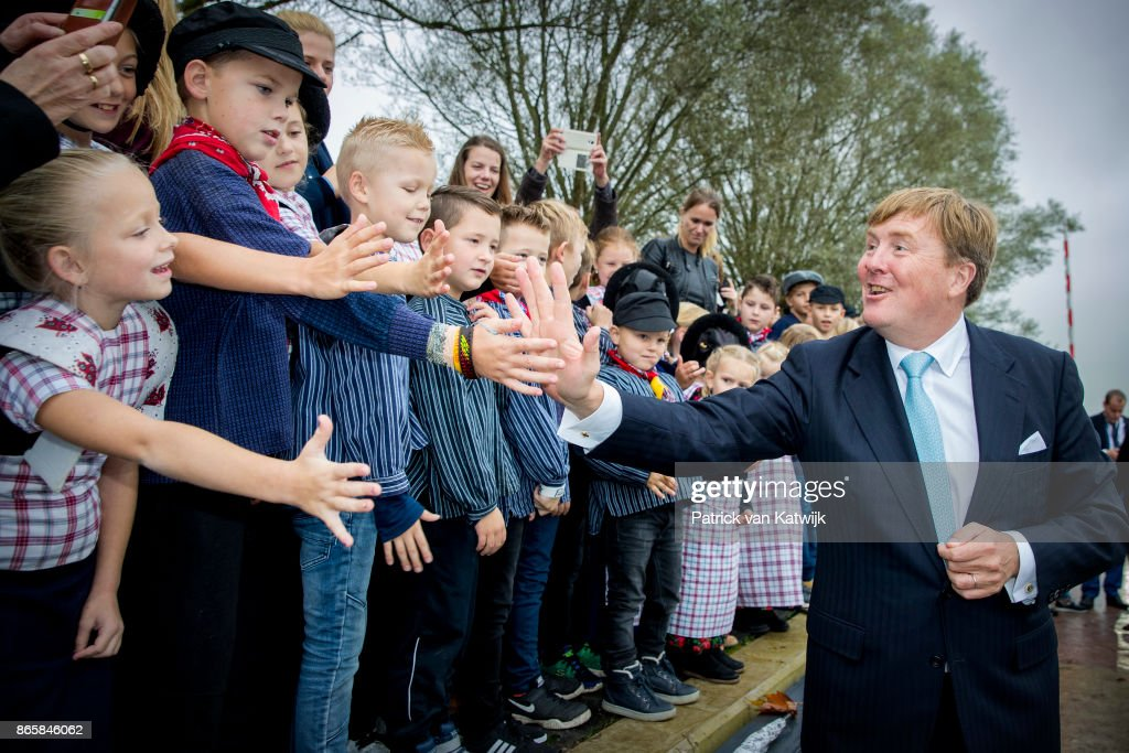King Willem-Alexander of The Netherlands visits water pump system Gemaal Eemnes and sail with the ferry boat to Eemdijk during there region visit to Eemland on October 24, 2017 in Eemdijk, Netherlands.