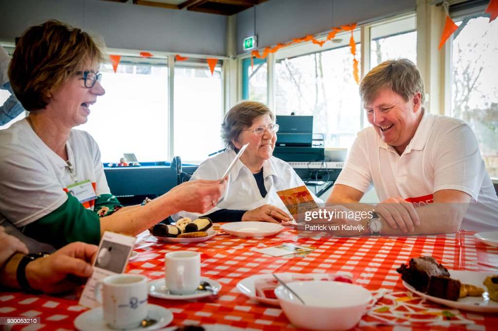 King Willem-alexander of The Netherlands volunteers during the NL Doet at residential care centre 't Hofland in Pijnacker on March 10, 2018 in Pijnacker, Netherlands.