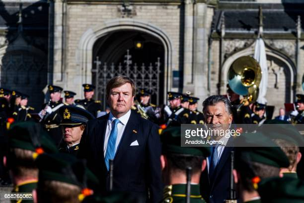 King Willem-Alexander of The Netherlands welcome President Mauricio Macri of Argentine during an official welcoming ceremony at The Royal Palace on...
