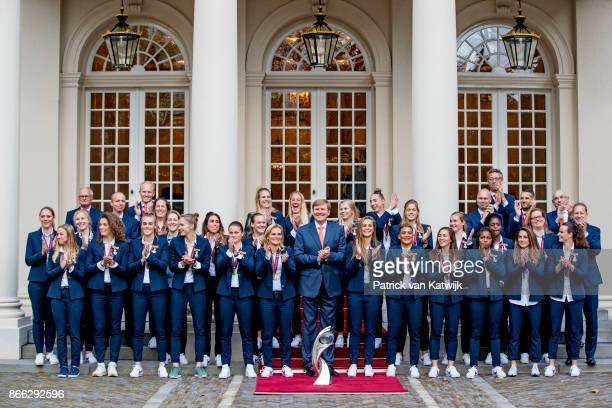 King WillemAlexander of The Netherlands welcomes the women's football team after they won the European Cup at Noordeinde Palace on October 25 2017 in...