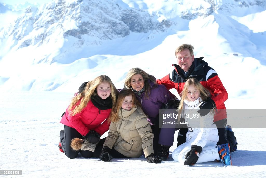 King Willem-Alexander of The Netherlands with his wife Queen Maxima of the Netherlands and their daughter Crown Princess Catharina-Amalia of The Netherlands (L), Princess Alexia of the Netherlands (C) and Princess Ariane of The Netherlands (R) during the annual winter photo call on February 26, 2018 in Lech, Austria.