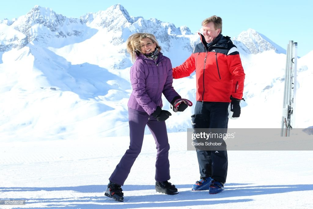 King Willem-Alexander of The Netherlands with his wife Queen Maxima of the Netherlands during the annual winter photo call on February 26, 2018 in Lech, Austria.