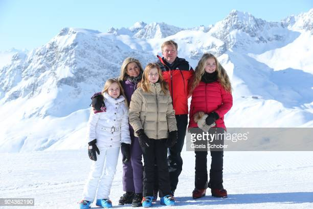 King Willem-Alexander of The Netherlands with his wife Queen Maxima of the Netherlands and their daughters Crown Princess Catharina-Amalia of The...