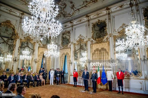 King WillemAlexander of The Netherlands with President Sergio Mattarella of Italy during the first day of a royal state visit to Italy at the Palazzo...