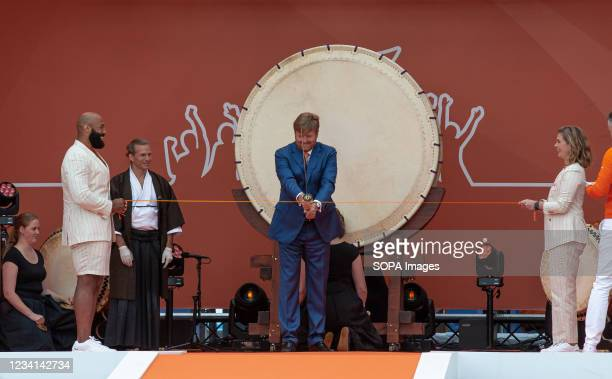 King Willem-Alexander, officially opens the TeamNL Olympic Festival by cutting the ribbon on the sports beach of The Hague. H.R.H. King...
