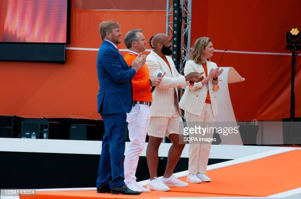 King Willem-Alexander, on stage with Judoka Roy Meyer who competed 2016 Summer Olympics in Rio de Janeiro and Paralympic athletics Gold medalist:...